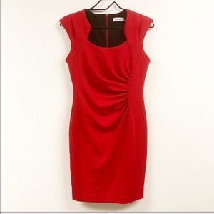 Calvin Klein Sweetheart Ruched Sheath Dress Red